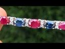 Estate 46 71 ct Natural VS Ruby Sapphire Diamond 18k White Gold Tennis Necklace A141459