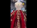 Luxury Wine Red Wedding Gown