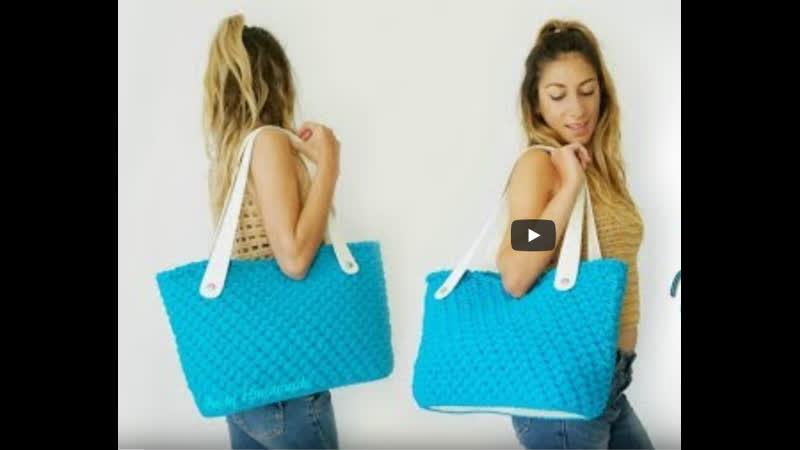 Tutorial UNCINETTO MAXI BAG MARE AquaMarine Punto Spiga Crochet ♡ Katy Handmade 720p