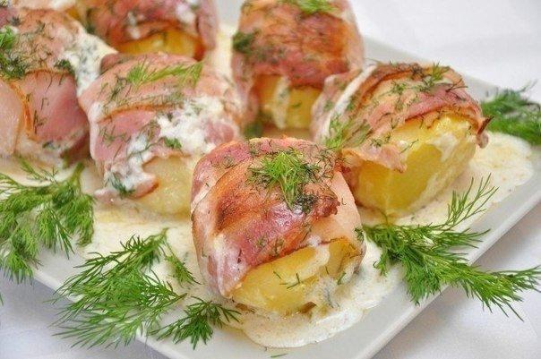 Картошка с беконом.