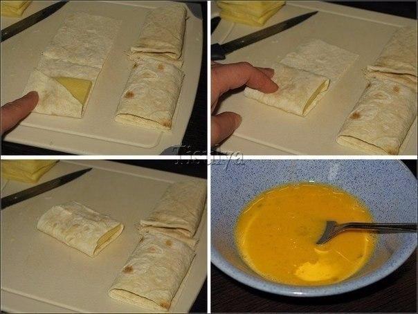Лаваш с сыром в яйце.