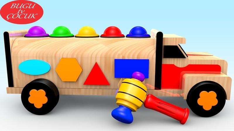 Ahşap 3D Oyuncak Kamyon ile Şekilleri ve Renkleri Öğreniyorum