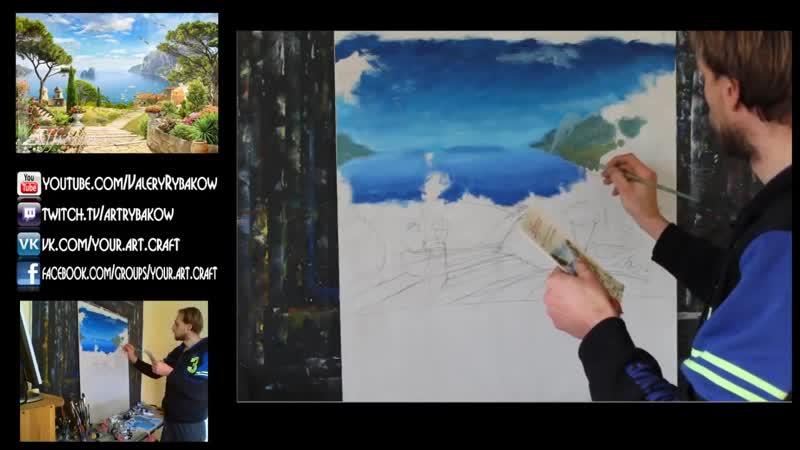 Роспись стен акриловыми красками мастер класс. Как нарисовать пейзаж на стене. Р