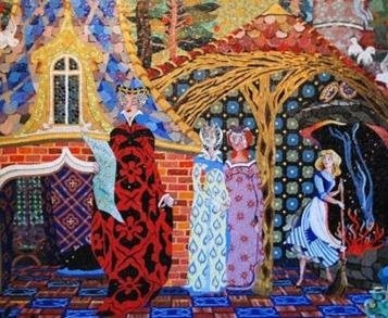 Мозаика «Золушка» во Всемирном центре отдыха Уолта Диснея Создана немцем Хансом Шарффом по дизайну Доротеи Рэдмонд к открытию диснеевского парка развлечений в 1971 году. Мозаика состоит из пяти
