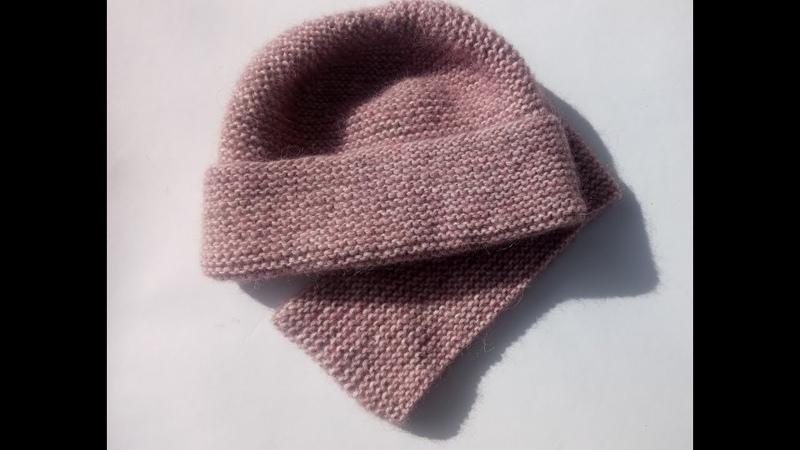 Простая шапка платочной вязкой с большим отворотом на р 56 58