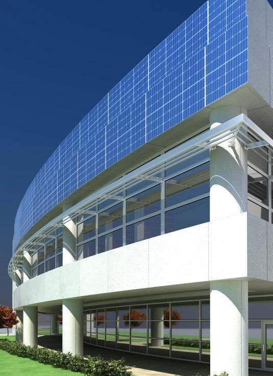 Устойчивое здание может включать солнечные панели в своем дизайне.