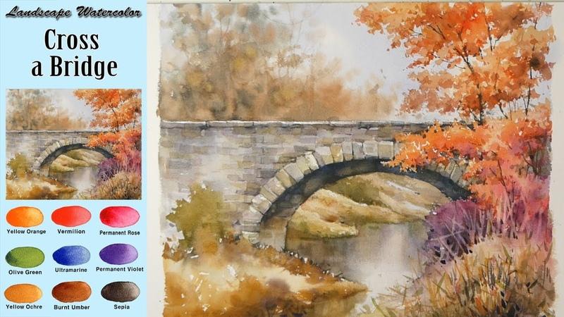Landscape Watercolor- Cross a Bridge (wet-in-wet. Arches rough) NAMIL ART