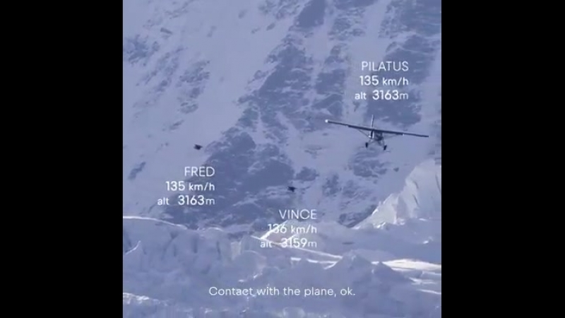 Totally wacky Wingsuit flight sponsored by Red Bull - starts at 4062 meters altitude