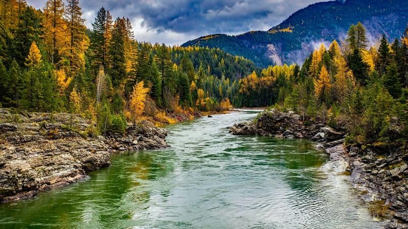 Картинка природа. Облака, горы, национальный парк глейшер, осень, солнце, лес, деревья, сша.