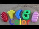 Learn colors play with children in the sand. Cheerful music colored cake