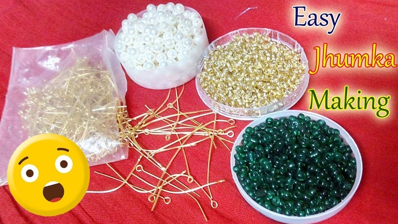 How To Make Eye pin Pearl Earrings Making At Home | Jhumkas making