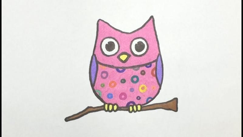 Dibujando un colorido y tierno Búho - Drawing a Colorful and Cute Owl