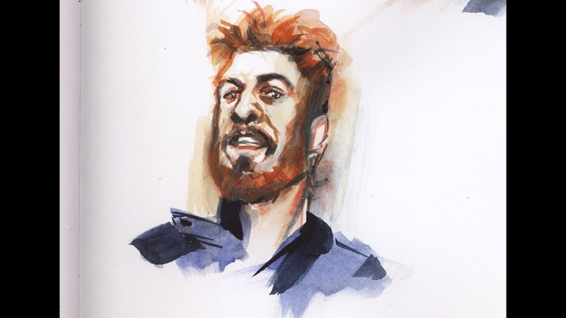 Portrait of mad Sweeney watercolor speed painting