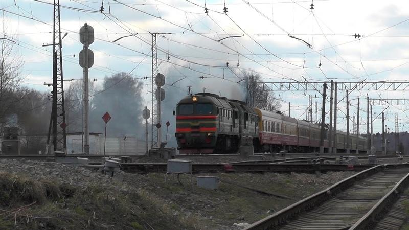 Тепловоз 2М62-1136 с хозяйственным поездом