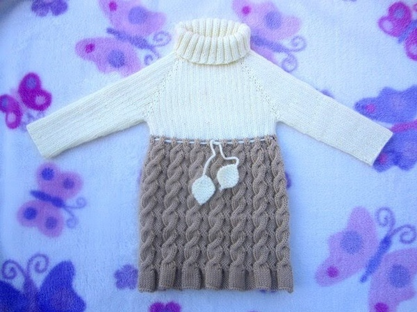 How to Knit Seamless and Reversible Cables Baby Dress Part 1