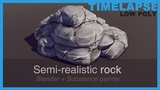Timelapse Game art - Semi-realistic PBR low poly rock model Blender, Substance Painter &amp Unity