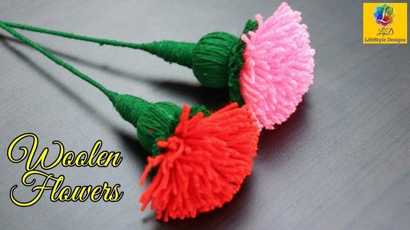 Marigold woolen Flower Latest and Easy Design making   Woolen Craft room decoration idea