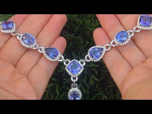GIA Certified 127.76 ct FLAWLESS Natural D-Block Tanzanite Diamond 14k White Gold Necklace - C321