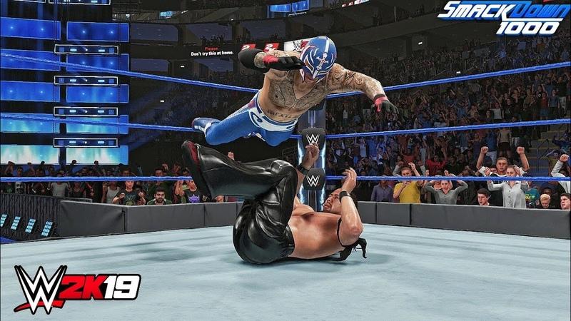 WWE 2K19 - Rey Mysterio vs Shinsuke Nakamura Gameplay! SmackDown 1000