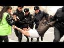 TƏCİLİ Şəhidin övladını Prezident Aparatının önündə polislər həbs etdi