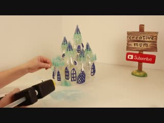 Diy frozen castle lamp using plastic bottles and hot glue