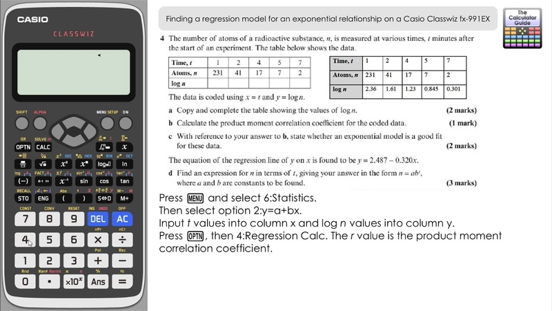 A Level Maths Regression Model for an Exponential Relationship on a Casio Classwiz fx 991EX