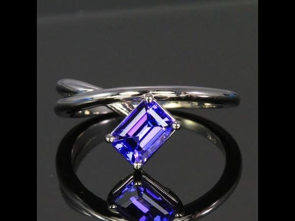 14K White Gold Emerald Cut Tanzanite Ring 1.25 Carats