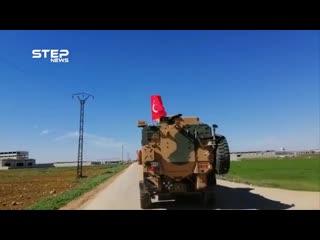 مشاهد لبدء تسيير دوريات تركية من نقطة العيس بريف حلب باتجاه اتوتستراد دمشق - حلب - -