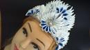 DIY МК Как сделать новгоднюю корону из острых лепестков канзаши в бело синих тонах