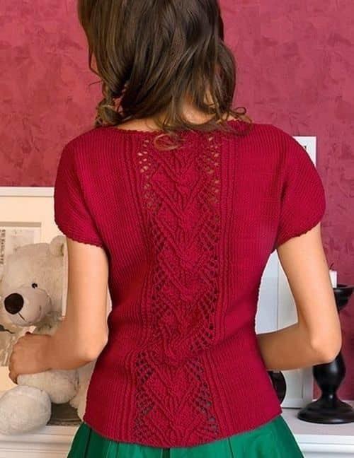 Летний пуловер с ажурным узором по центру!