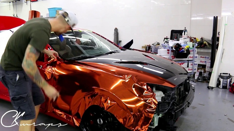 Time Lapse Orange Chrome Vinyl Installation Genesis Coupe With Gloss Carbon Fiber Vinyl By @ckwraps