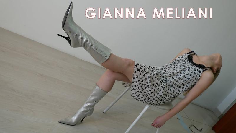 Olga's brand new pointed toe high heels Gianna Meliani ankle silver boots EU 40 US 9