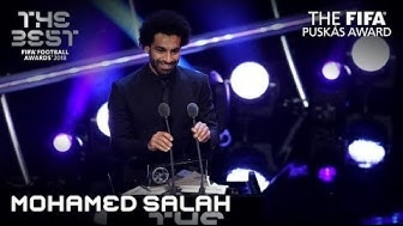 Mohamed Salah reaction − The FIFA Puskas Award Winner 2018