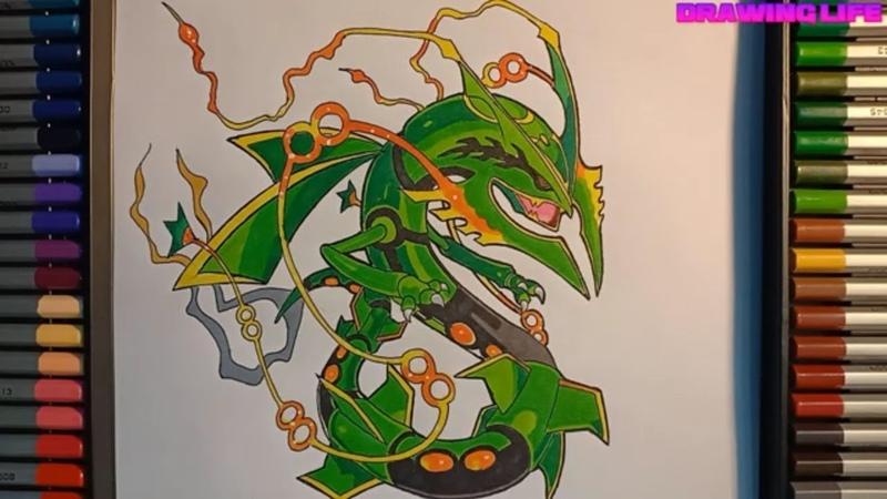 Vẽ huyền thoại Mega Rayquaza-Drawing Pokemon