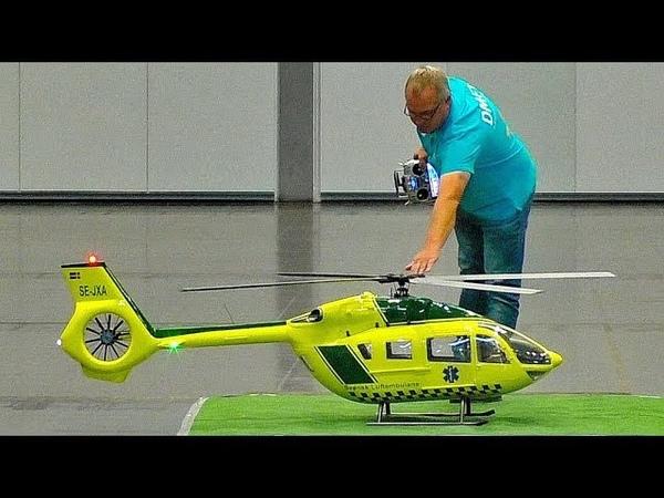 STUNNING BIG RC NEW EC-145 T2 VARIO SCALE 1:5 MODEL HELICOPTER INDOOR FLIGHT DEMONSTRATION