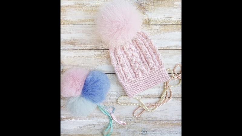 шапка шапкаспицами шапкаскосами.Вяжем стильную и красивую шапку спицами.Подробный МК.Вязание.
