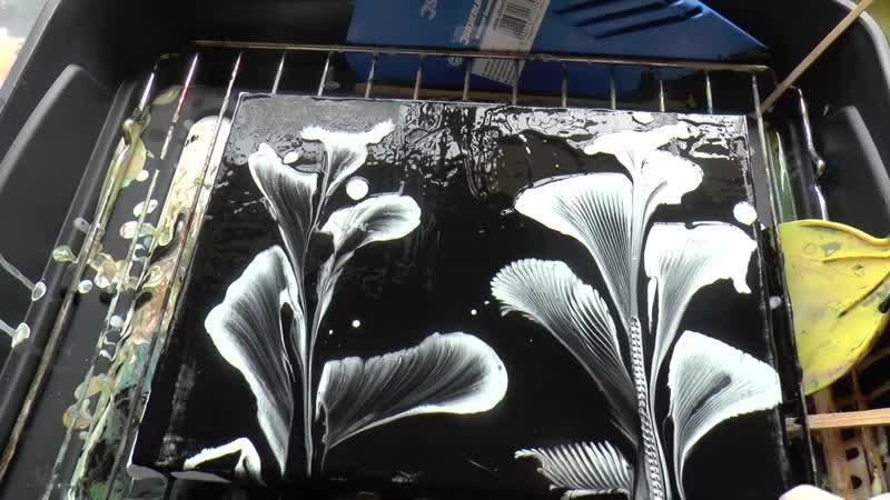 Заливка Акрилом, Рисуем цветы Веревочкой и Цепью. Painting the flowers with chai