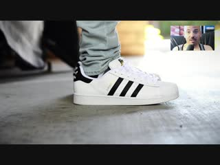 Adidas superstar white  black on feet sneaker review