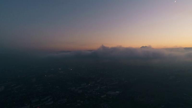 Kislovodsk Low clouds at sunset Кисловодск Низкие облака на закате DJI Phantom 4