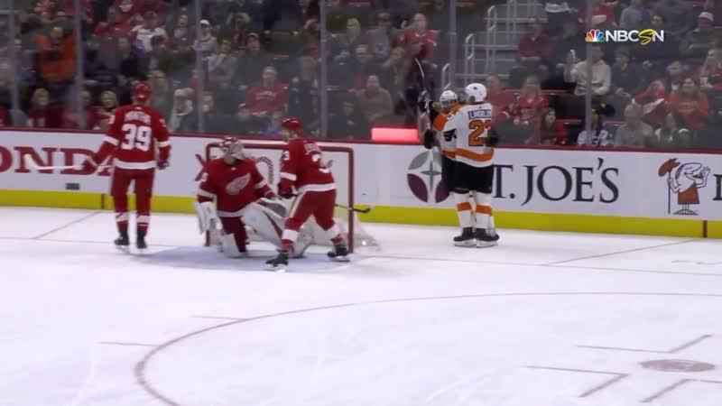 Oskar Lindblom Goal - Philadelphia Flyers vs Detroit Red Wings (2/17/19)