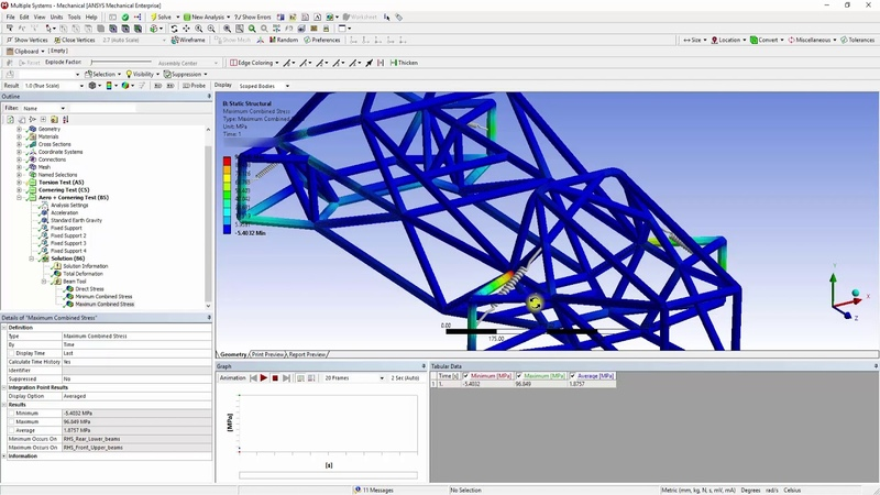 ANSYS Mechanical Student Formula SAE Chassis Analysis Part 5 - Boundary Conditions and Solving