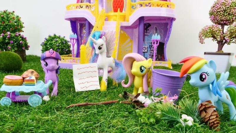 Ponyler Celestia için şatoyu temizliyor! Çocuk videosu