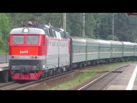 Электровоз ЧС7-043 с поездом №048Щ Кишинёв - Москва платформа Башкино 11.07.2018