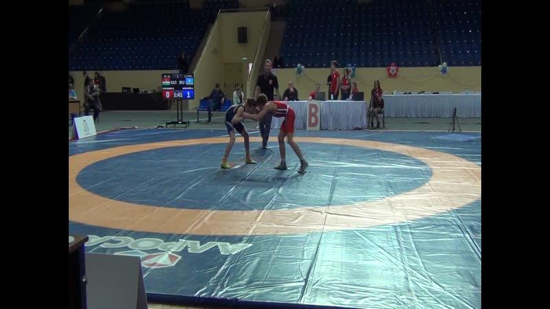 Весовая категория до 51 кг 12 финала Сёмушкин Никита (г.Калуга) (красный) -- Кронгайз Алексей (Саха Якутия) (синий)