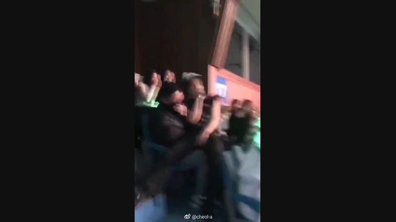Jackson sints on fanboys lap