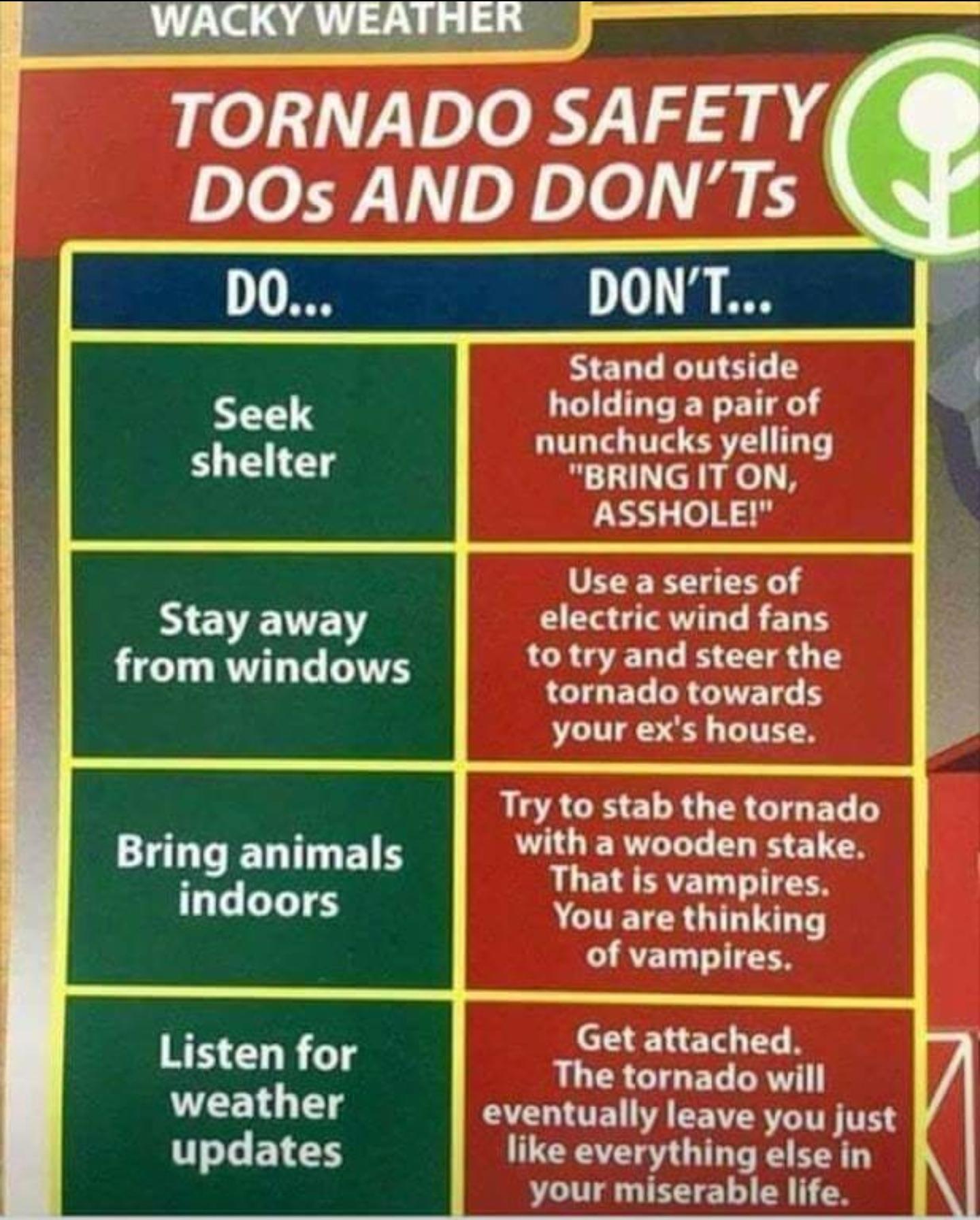 Что стоит и не стоит делать в случае торнадо