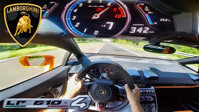 POV 342 km/h LAMBORGHINI HURACAN AKRAPOVIC INSANE! AUTOBAHN ACCELERATION TOP SPEED DRIVE SOUND