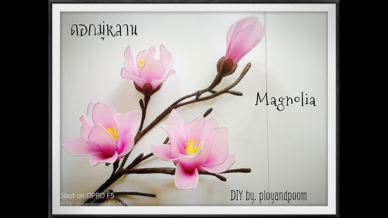 ดอกมู่หลาน/Magnolia How to make nylon/stocking flower ployandpoom