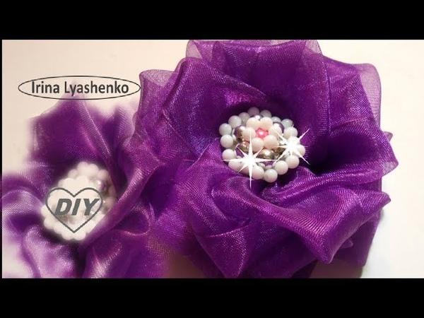 Цветок из органзы на резинку МК/DIY Flower from organza PAP Flor de organza156