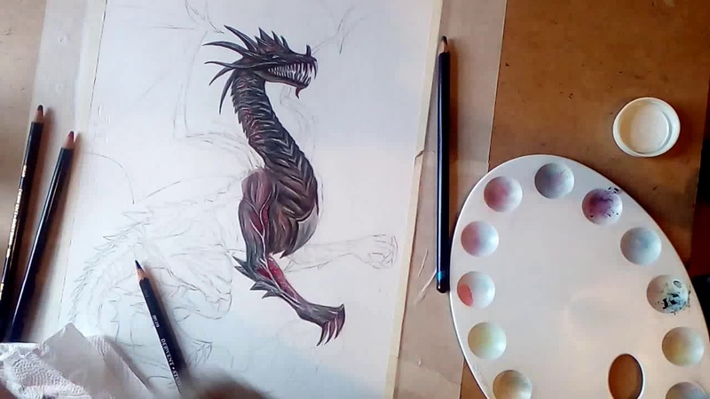 Speed drawing Archdemon Urthemiel from Dragon Age